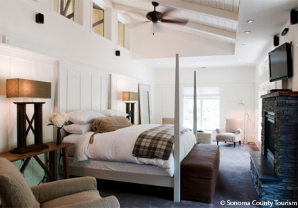 A guest room at Farmhouse Inn in Sonoma County, California