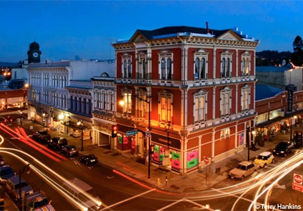 A view of historic downtown Petaluma in Sonoma County, California