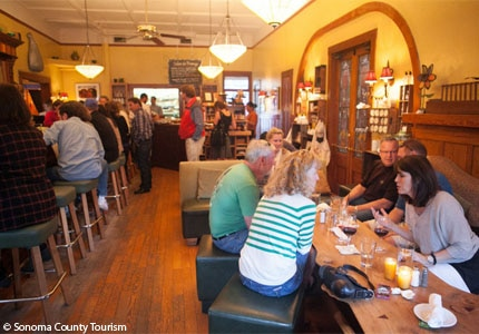 The dining room of the girl & the fig in Sonoma County, California