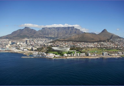 An aerial view of Cape Town in South Africa