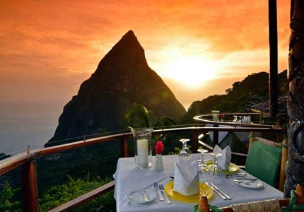 The view from Dasheene at sunset at Ladera Resort on St. Lucia