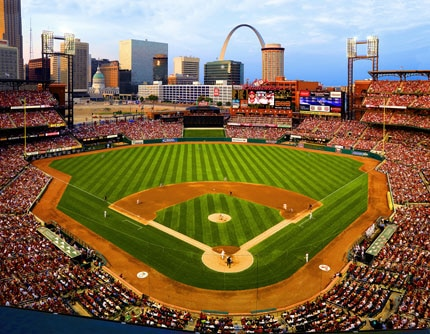 Busch Stadium in St. Louis, Missouri is home to the St. Louis Cardinals