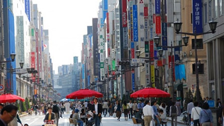 Ginza district shopping row in Tokyo, Japan