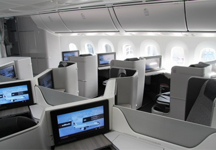 The International Business Class Cabin aboard Air Canada's 787 Dreamliner and one of GAYOT's Top 10 Business Class Airlines