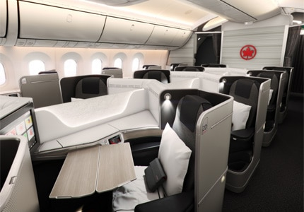 Business Class cabins of Air Canada, one of GAYOT's Top 10 Business Class Airlines