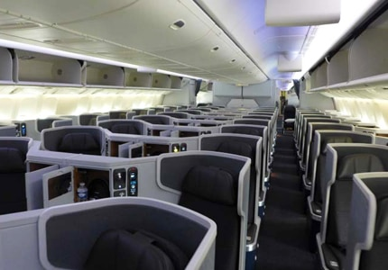Passengers enjoy ergonomic, lie-flat seats with American Airlines' next-generation business class
