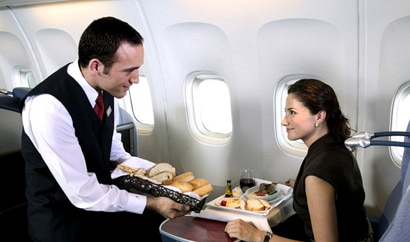Business class passengers receive excellent meals and service aboard LAN Airlines, one of GAYOT's Top Business Class Airlines