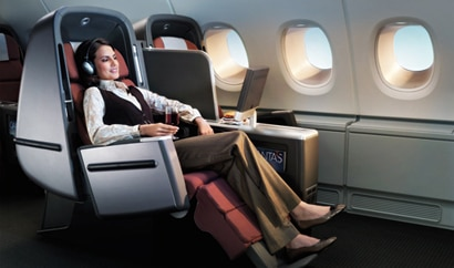 Qantas International Business Class seats feature a number of adjustable settings and are fully reclinable