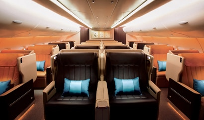 The spacious business class cabin of a Singapore Airlines jet