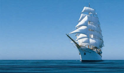 A luxury sailboat from Abercrombie and Kent's fleet, one of our Top 10 Cruise Lines on Gayot