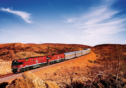The Ghan takes travelers through the heart of the Australian outback