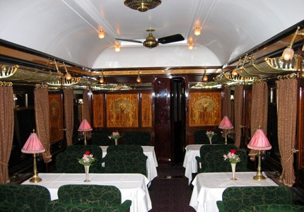 The restaurant Etoile du Nord aboard the Venice Simplon-Orient-Express