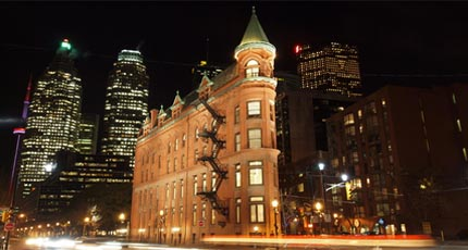 The historic Flatiron building in downtown Toronto is a popular tourist destination