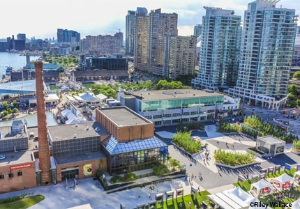 An aerial view of Harbourfront Centre in Toronto