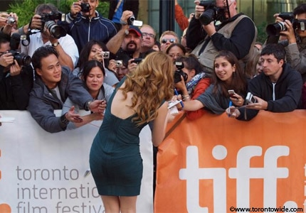 Actress Rachelle Lefevre signing autographs at the Toronto International Film Festival