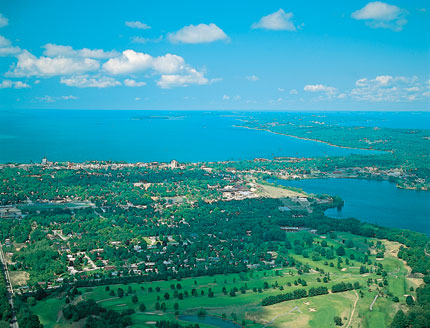 The verdant Grand Traverse Bay in Michigan