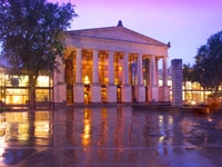 A nighttime view of The Memorial Auditorium of Raleigh in North Carolina