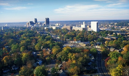 The skyline of downtown Raleigh, North Carolina
