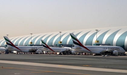 Planes parked at Emirates' new Terminal 3 at Dubai International Airport