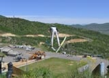 Sky jumping in the summer at Utah Olympic Park in Park City