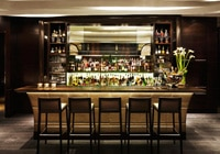 The stylish bar at Hawksworth Restaurant in Vancouver