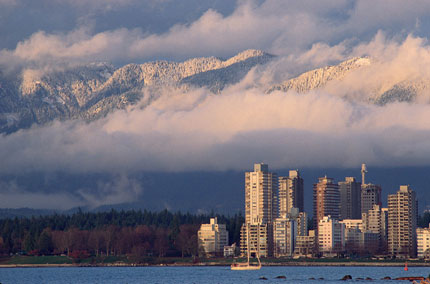 Vancouver's West End against a stunning backdrop of snowcapped mountains