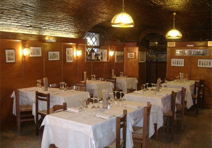 The dining room at Taverna San Trovaso in Venice, Italy
