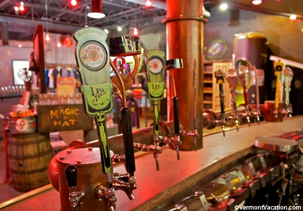 The taps at Magic Hat Brewery in Burlington, Vermont