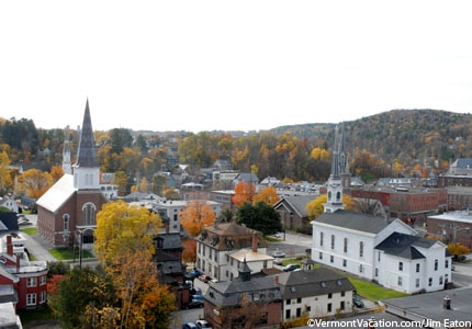 A bird's-eye view of the city of Montpelier in Vermont