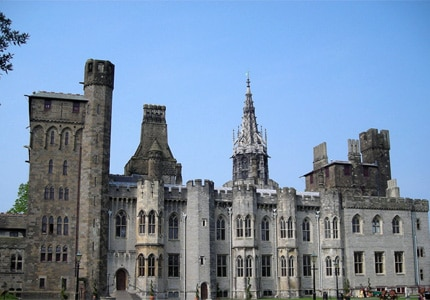 A view of Cardiff Castle in Wales as seen from the gardens