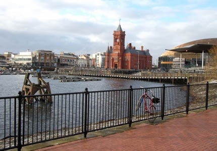 A view of the Cardiff waterfront in Wales