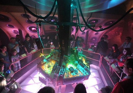 Flying the TARDIS exhibit at the Doctor Who Experience in Cardiff, Wales