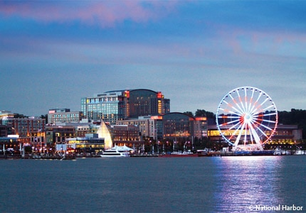 The National Harbor skyline in Maryland