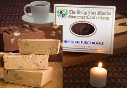 Some of the delicious fudge made by the Brigittine Monastery monks in Amity, Oregon