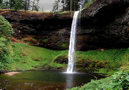 An elegant waterfall in Silver Falls State Park