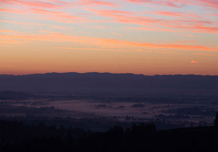 View of the Willamette Valley at sunset