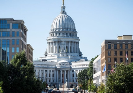 The State Capitol Building in Madison, Wisconsin