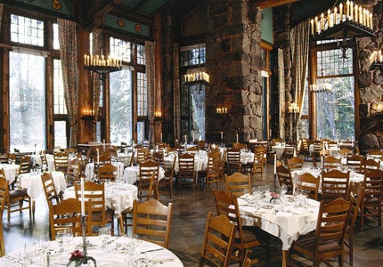 The dining room at Ahwahnee Hotel in Yosemite National Park