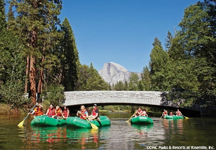 Go rafting with Half Dome as your backdrop