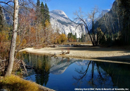 A view of the Merced River and North Dome at Yosemite Park