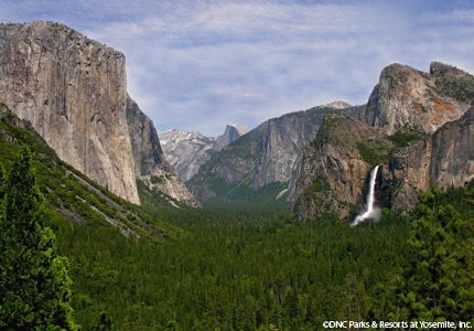 A tunnel view of Yosemite Valley, one of the most picturesque backdrops