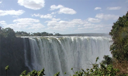 The breathtaking Victoria Falls, one of the largest waterfalls in the world, in Zambia