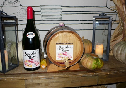 A Beaujolais Nouveau release party at FIG restaurant in Santa Monica featured a barrel of Georges Duboeuf's 2015 Beaujolais Nouveau