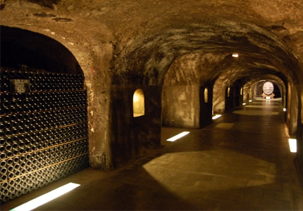 Moet & Chandon underground wine caves, where Champagne is aged in a constant cool environment. Photo courtesy of Giulio Nepi.
