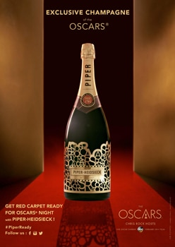 "Celebrate the 88th Oscars with the official Champagne Piper-Heidsieck ""Red Carpet Ready"" bottle"