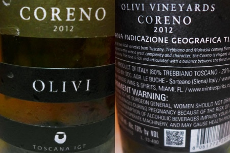 Olivi 2012 Coreno boasts rich fruit and floral aromas
