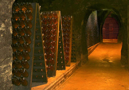 Cave and racks at Schramsberg Vineyards in Napa Valley