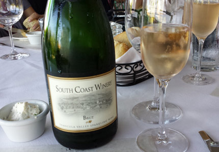 South Coast Winery Brut sparkling wine with dinner in Temecula, CA