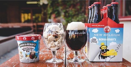 "New belgium Brown Ale Ice Cream benefits the enviornmenatl group ""Protect our Winter"""
