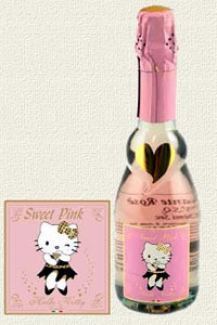 A Bottle of Hello Kitty Sweet Pink Demi-Sec Sparkler from Hello Kitty Wines
